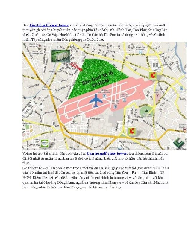 Bán Căn hộ golf view tower vị trí tại đường Tân Sơn, quận Tân Bình, nơi giáp giới với một ít tuyến giao thông huyết quản c...