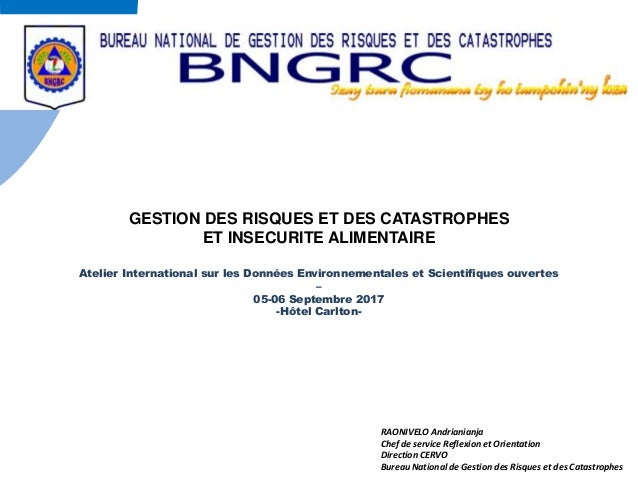 RAONIVELO Andrianianja Chef de service Reflexion et Orientation Direction CERVO Bureau National de Gestion des Risques et ...
