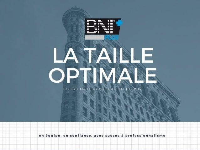 """""""La taille optimale d'un groupe BNI"""" - BNI+"""