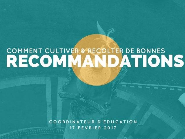 """""""Comment cultiver et récolter de bonnes recommandations"""" - BNI+"""