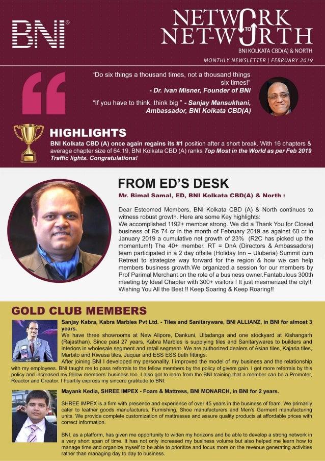 BNI Kolkata CBD(A) & North | Newsletter |  February 2019