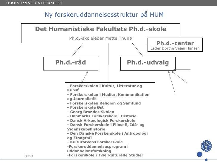 Ny forskeruddannelsesstruktur på HUM <ul><li>Det Humanistiske Fakultets Ph.d.-skole </li></ul><ul><li>Ph.d.-skoleleder Met...