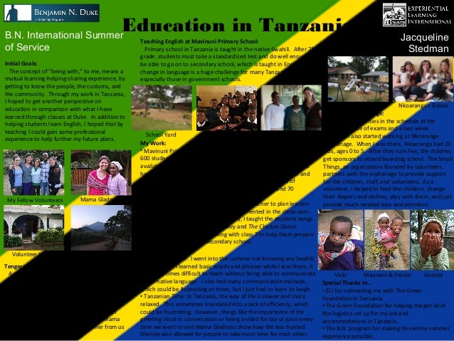 B.N. International Summer                                             Education in Tanzania                               ...