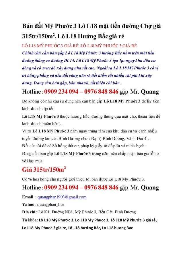 Bán đất Mỹ Phước 3 Lô L18 mặt tiền đường Chợ giá 315tr/150m2 , Lô L18 Hướng Bắc giá rẻ LÔ L18 MỸ PHƯỚC 3 GIÁ RẺ, LÔ L18 MỸ...