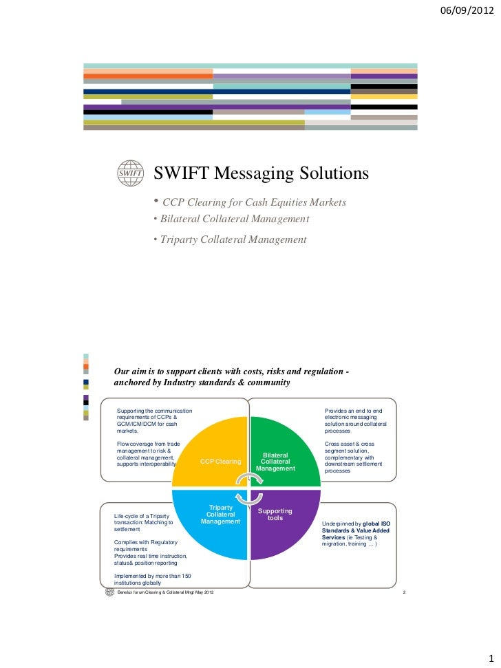 06/09/2012                   SWIFT Messaging Solutions                   • CCP Clearing for Cash Equities Markets         ...