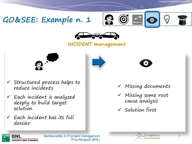 Copyright © Institut Lean France 2012  GO&SEE: Example n. 1 INCIDENT management   Structured process helps to reduce inci...