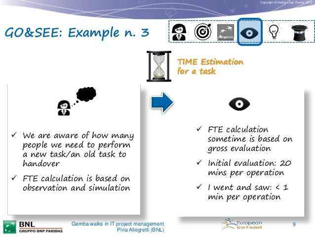 Copyright © Institut Lean France 2012  GO&SEE: Example n. 3 TIME Estimation for a task   We are aware of how many people ...