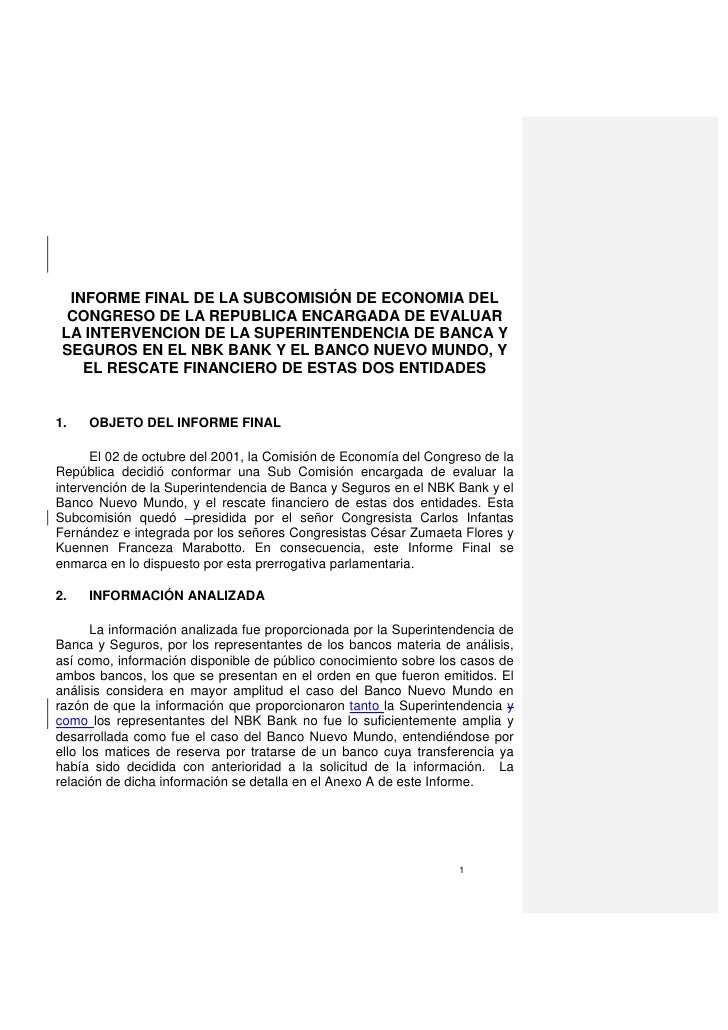INFORME FINAL DE LA SUBCOMISIÓN DE ECONOMIA DEL  CONGRESO DE LA REPUBLICA ENCARGADA DE EVALUAR LA INTERVENCION DE LA SUPER...