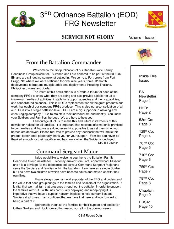 3RD Ordnance Battalion (EOD)                              FRG Newsletter                                        SERVICE NO...