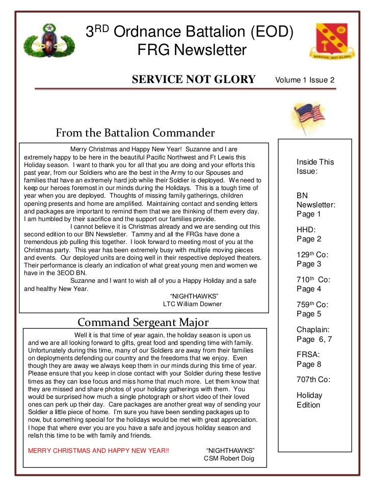 Volume 1 Issue 2<br />From the Battalion Commander<br />Inside This Issue:<br />BN Newsletter: Page 1<br />HHD:         Pa...