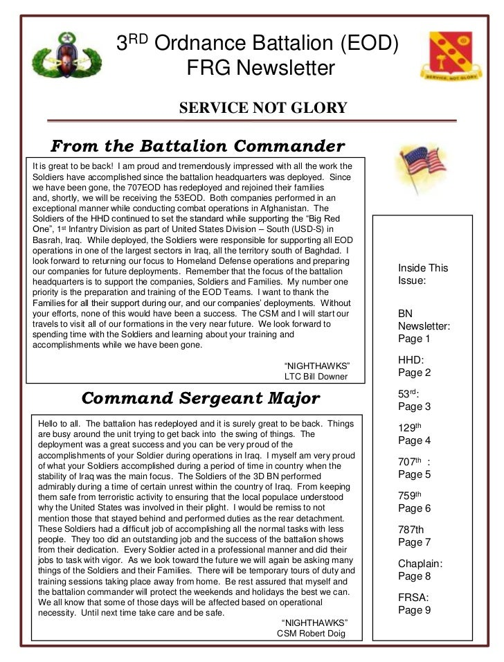 From the Battalion Commander<br />It is great to be back!  I am proud and tremendously impressed with all the work the Sol...