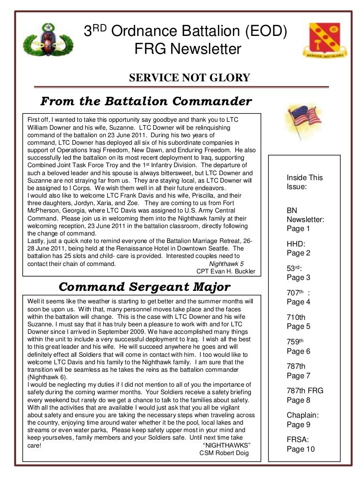 From the Battalion Commander<br />First off, I wanted to take this opportunity say goodbye and thank you to LTC William Do...