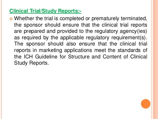ich guideline for structureandcontent of clinical study reports