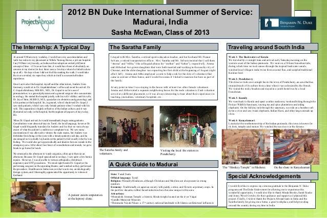2012 BN Duke International Summer of Service:                                                                       Madura...