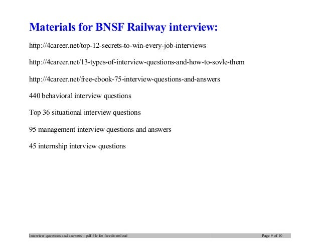 Bnsf Railway Interview Questions And Answers