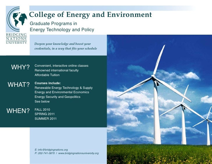 College of Energy and Environment                                and Environment              Graduate Programs in        ...