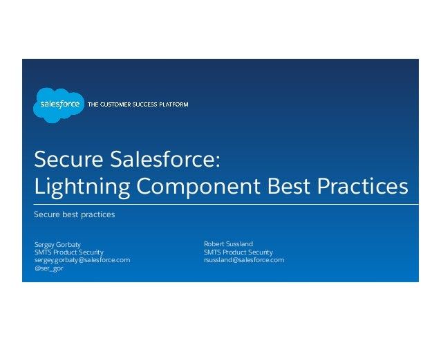 Secure Salesforce Lightning Components Best Practices