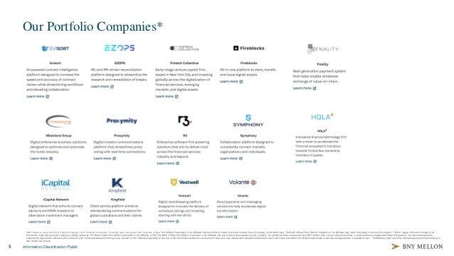 "5 Information Classification: Public Our Portfolio Companies* *BNY Mellon is using the terms ""Portfolio Company"" and ""Port..."