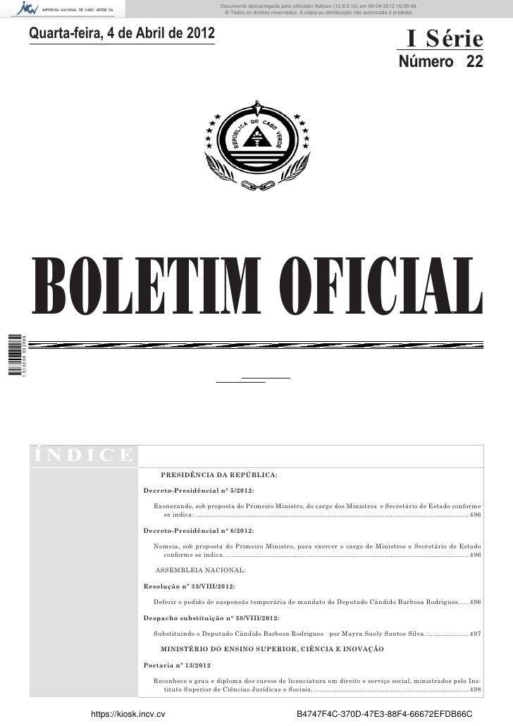 Documento descarregado pelo utilizador Adilson (10.8.0.12) em 09-04-2012 16:39:48.                                        ...