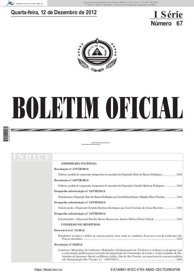 BOLETIM OFICIALQuarta-feira, 12 de Dezembro de 2012I SérieNúmero 67Í N D I C EASSEMBLEIA NACIONAL:Resolução nº 47/VIII/201...