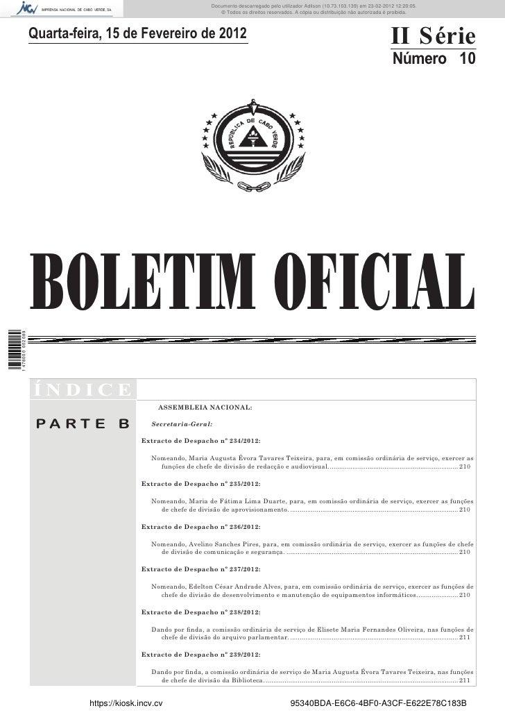 Documento descarregado pelo utilizador Felismino Thomás (10.73.102.134) em 23-02-2012 10:54:55.                           ...