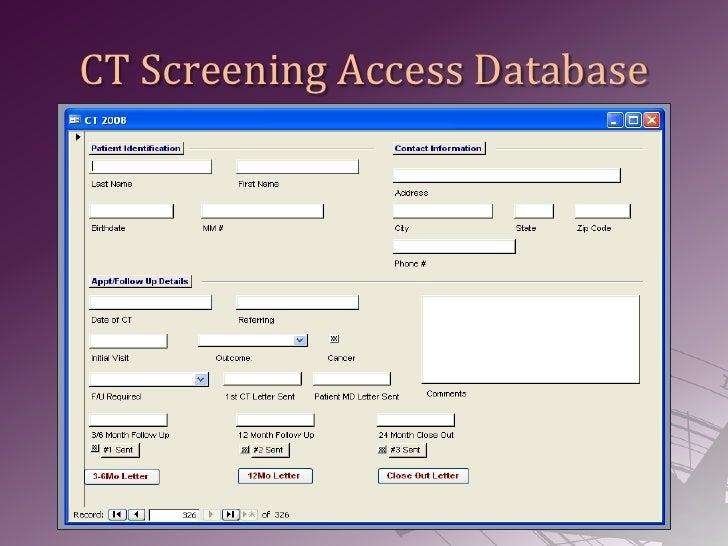 CT Screening Access Database<br />