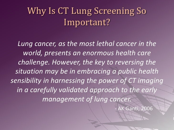 Why Is CT Lung Screening So Important?<br />Lung cancer, as the most lethal cancer in the world, presents an enormous heal...