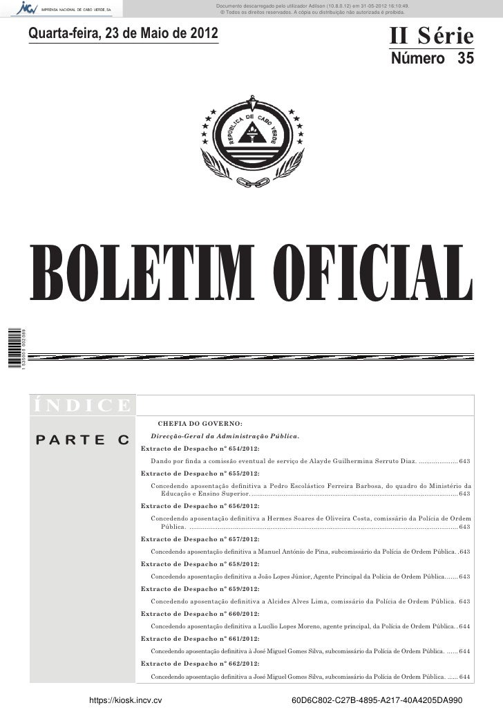 Documento descarregado pelo utilizador Adilson (10.8.0.12) em 31-05-2012 16:10:49.                                        ...