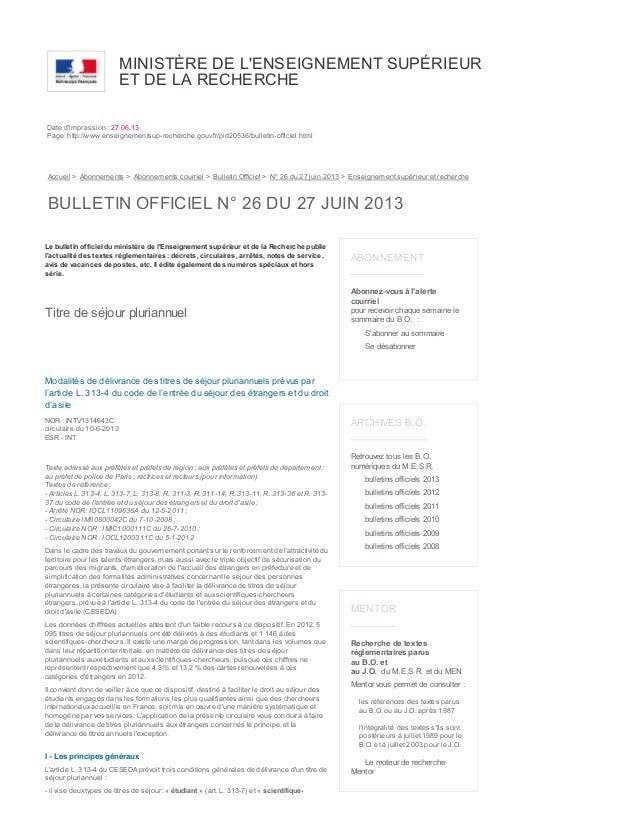 MINISTÈRE DE L'ENSEIGNEMENT SUPÉRIEUR ET DE LA RECHERCHE Date d'impression : 27.06.13 Page: http://www.enseignementsup-rec...