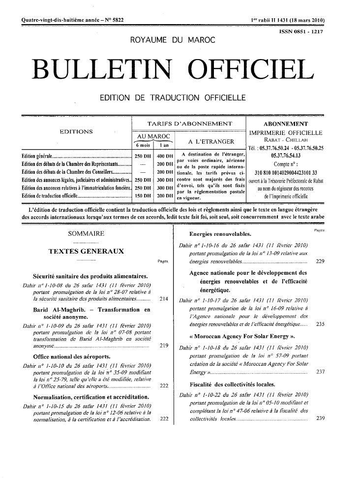 Loi 13/09 relative aux énergies renouvelables.