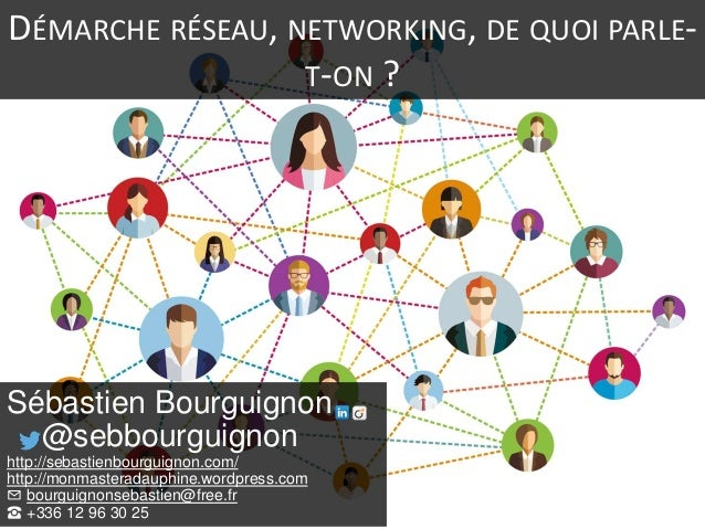 DÉMARCHE RÉSEAU, NETWORKING, DE QUOI PARLE- T-ON ? Sébastien Bourguignon @sebbourguignon http://sebastienbourguignon.com/ ...