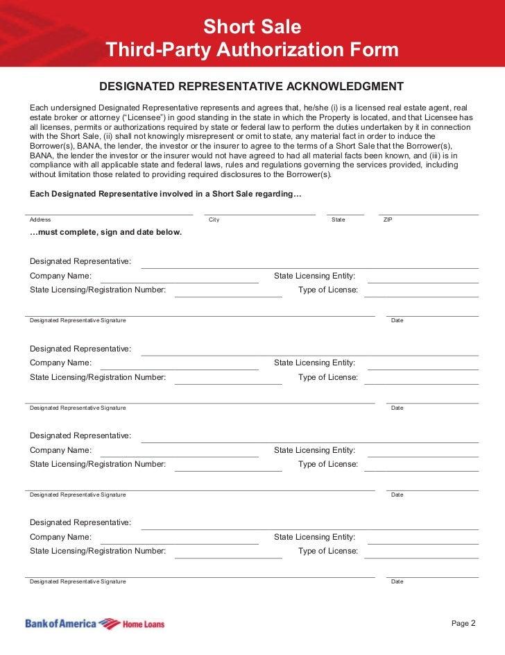 Marvelous ... 2. Short Sale Third Party Authorization Form DESIGNATED REPRESENTATIVE  ACKNOWLEDGMENTEach ...