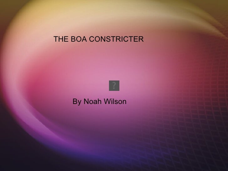 THE BOA CONSTRICTER    By Noah Wilson