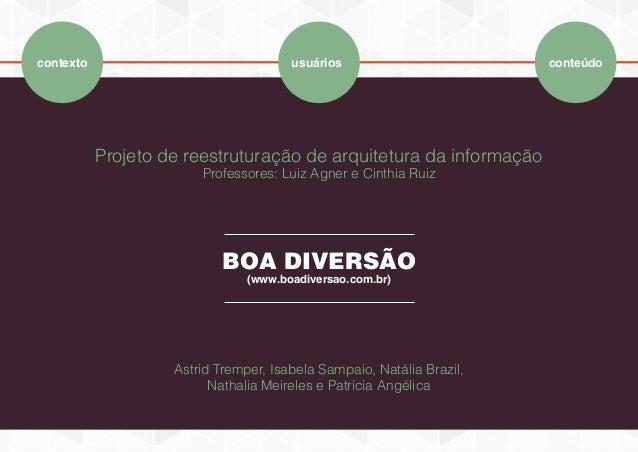 Projeto de reestruturação de arquitetura da informação Professores: Luiz Agner e Cinthia Ruiz BOA DIVERSÃO (www.boadiversa...