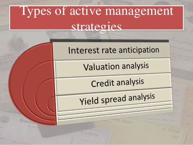 active bond portfolio strategies Chapter 22: bond portfolio management strategies, parts of which are included in chapter 23 (active bond portfolio management strategies) and chapter 24 (indexing), provides a more structured discussion of bond portfolio management strategies this discussion also describes active and passive strategies, and the bond portfolio management team.