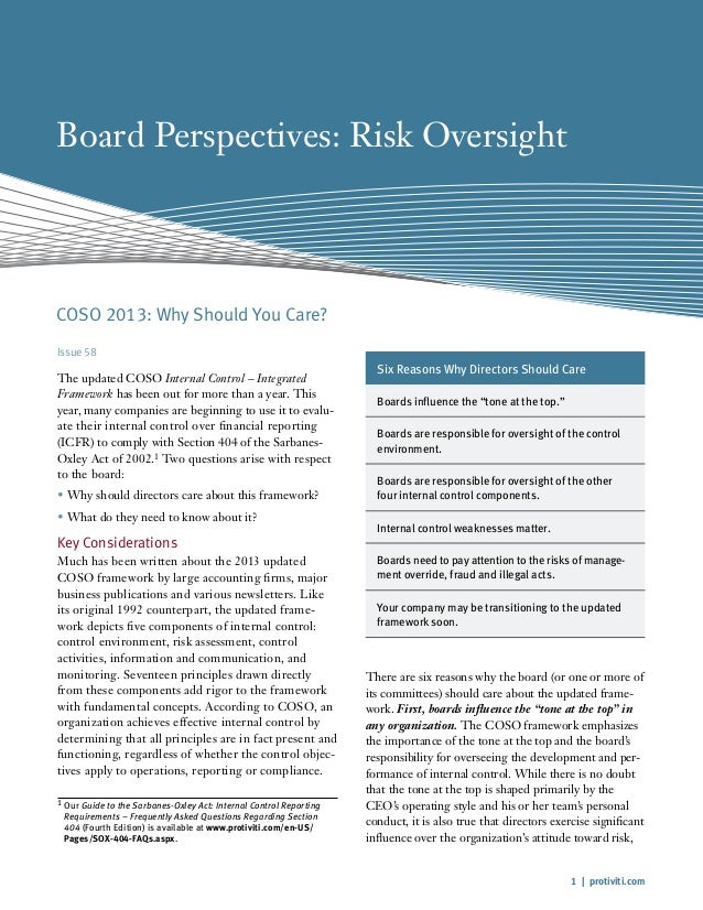 1   protiviti.com Board Perspectives: Risk Oversight Issue 58 The updated COSO Internal Control – Integrated Framework has...