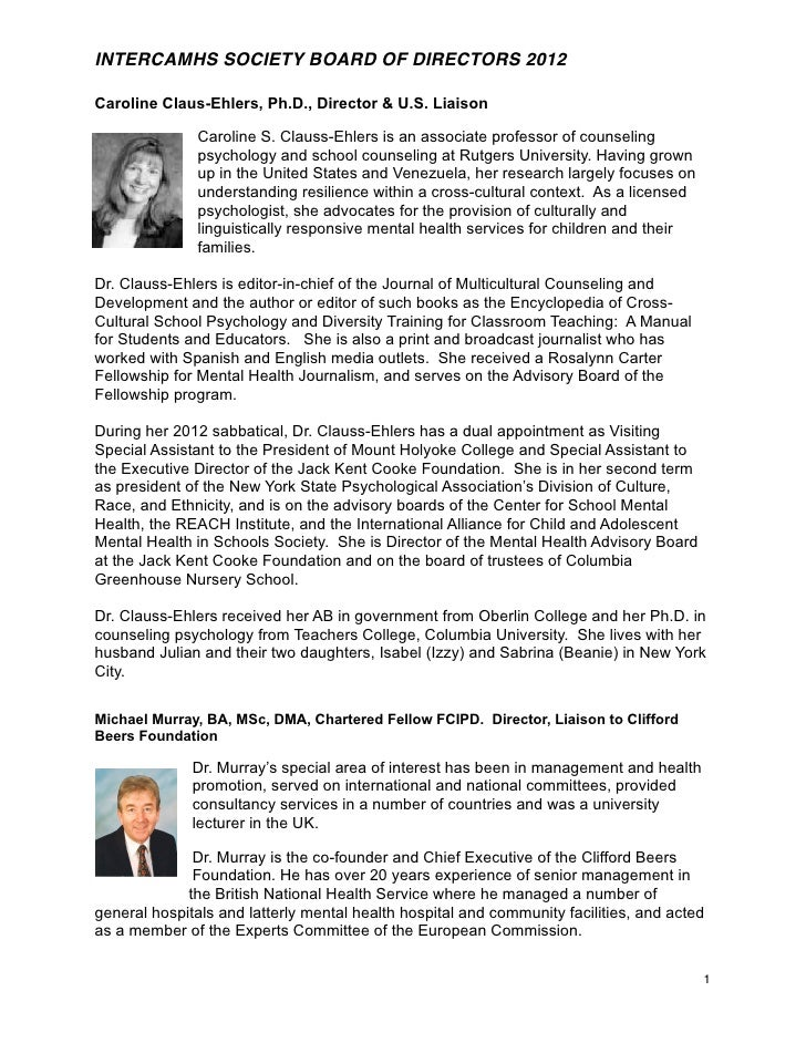 INTERCAMHS SOCIETY BOARD OF DIRECTORS 2012Caroline Claus-Ehlers, Ph.D., Director & U.S. Liaison               Caroline S. ...