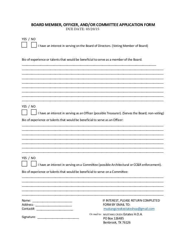 board application form fillable