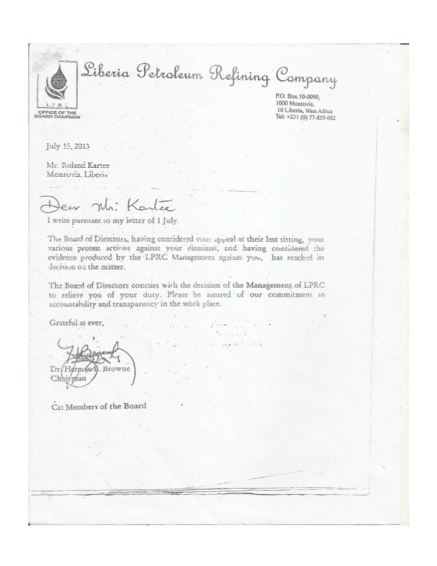 Board ChairmanS Final Concurrence Letter With Management On KarteeS
