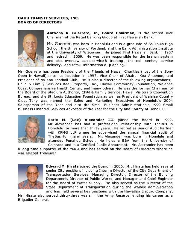 OAHU TRANSIT SERVICES, INC.OAHU TRANSIT SERVICES, INC.BOARD OF DIRECTORSBOARD OF DIRECTORSAnthony R. Guerrero, Jr., Board ...