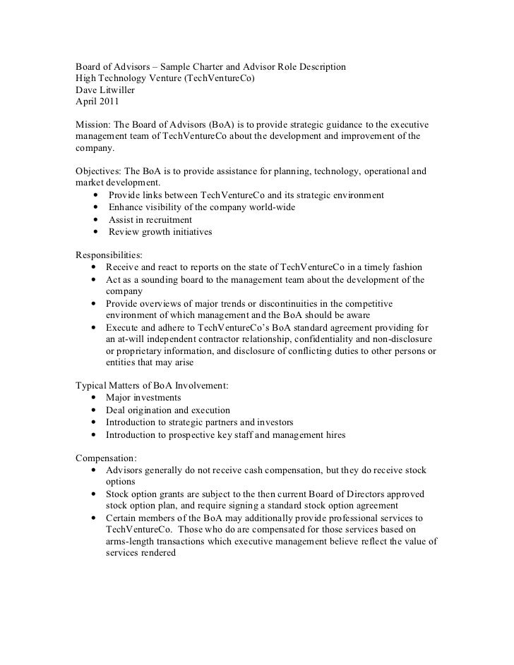 Board of advisors sample charter and advisor role description