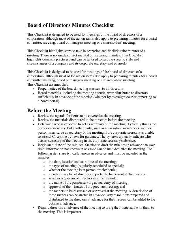 Board of directors minutes checklist for Annual board of directors meeting minutes template