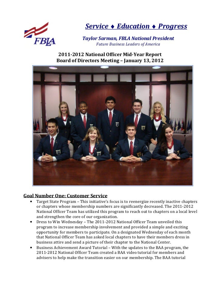 Future Business Leaders of America (FBLA) National Officers Mid Year Update 2011-12