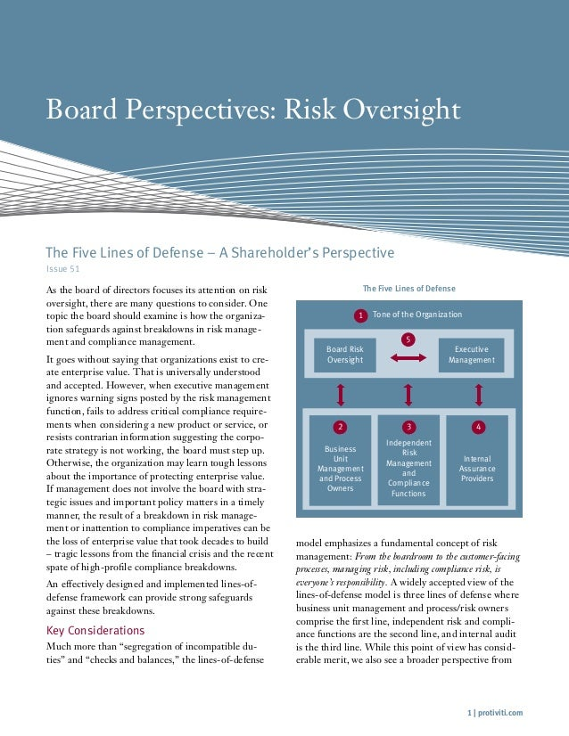 Board Perspectives: Risk Oversight  The Five Lines of Defense – A Shareholder's Perspective Issue 51  As the board of dire...