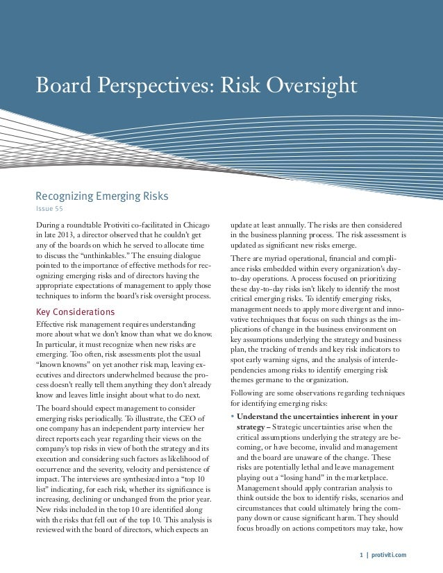 1 | protiviti.com Board Perspectives: Risk Oversight Issue 55 During a roundtable Protiviti co-facilitated in Chicago in l...