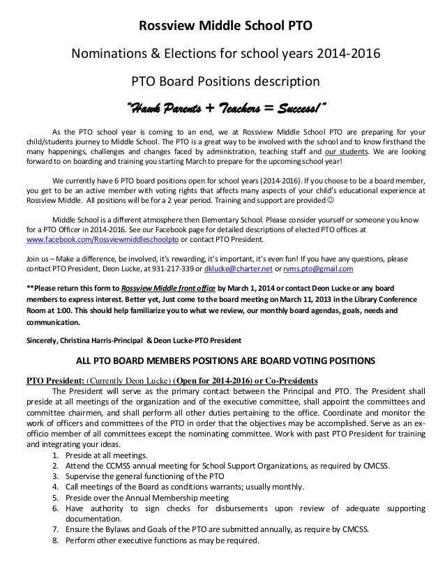 "Rossview Middle School PTO Nominations & Elections for school years 2014-2016 PTO Board Positions description ""Hawk Parent..."