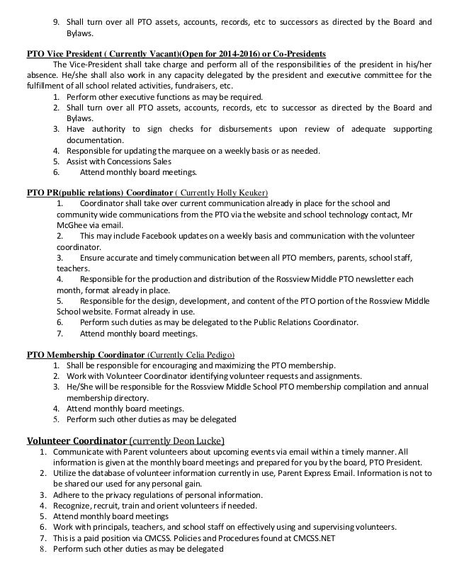 Board Position Job Description 2014