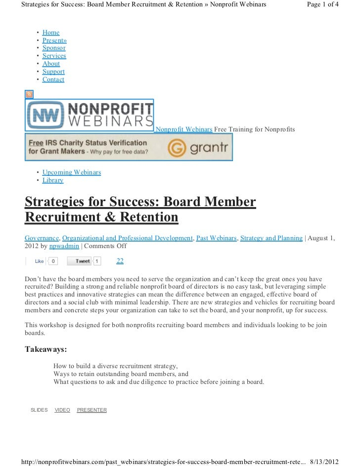 Strategies for Success: Board Member Recruitment & Retention » Nonprofit Webinars                    Page 1 of 4     •   H...