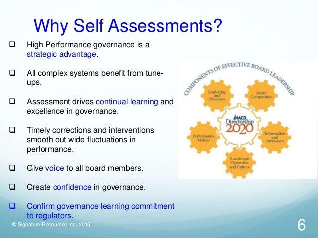 Board self assessment approaches – Self Assessment