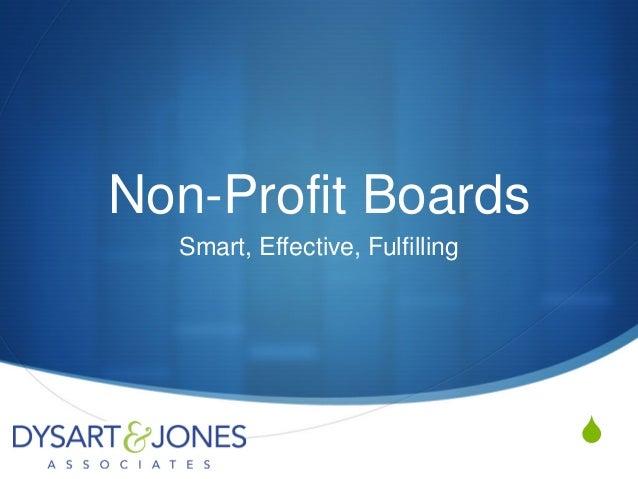 Non-Profit Boards Smart, Effective, Fulfilling  